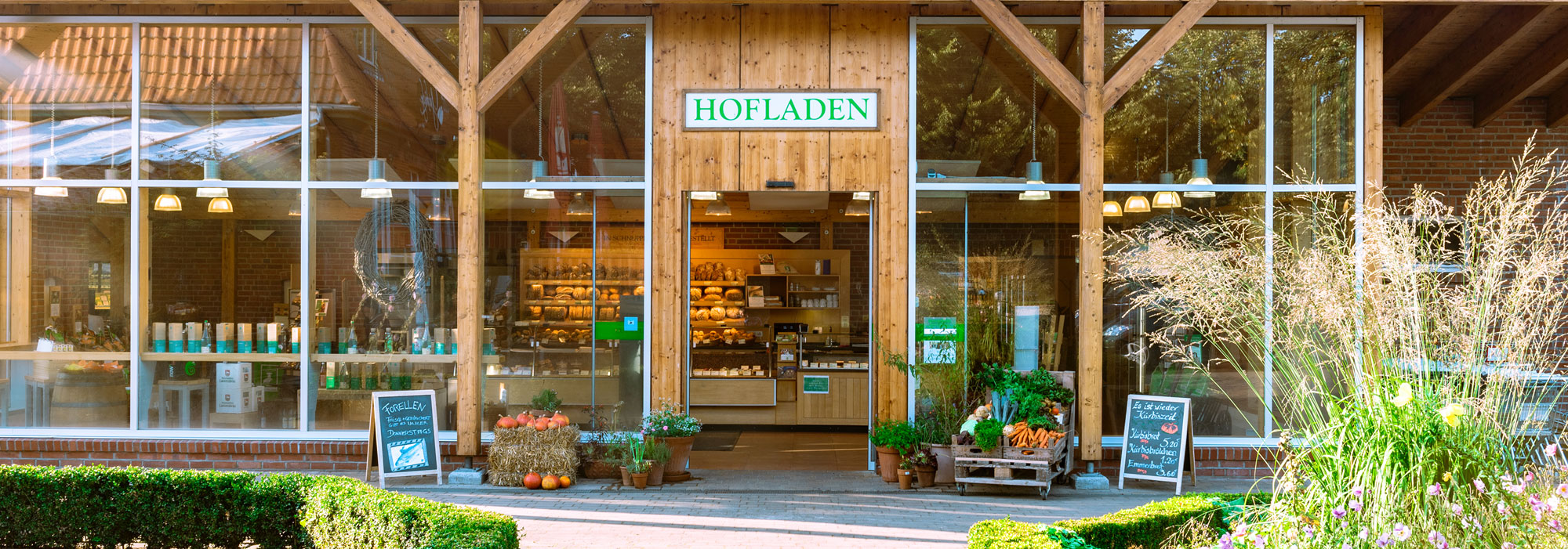 Eingangsbereich vom Hofladen uaf dem Gut Wulksfelde